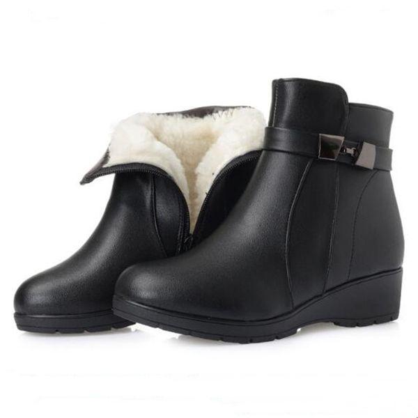 Acheter Chaude 2018 Nouvelle Hiver Neige Bottes Femmes De Mode Noir En Cuir Véritable Femmes Chaussures Bottes Antidérapant Doux Confort Chaud
