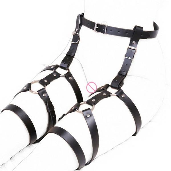 camaTech PU Leather Waist To Bondage Restraint Chastity Belt Adjustable Strap On Leg Cage Harness Fetish Slave SM Adult Game C18111301