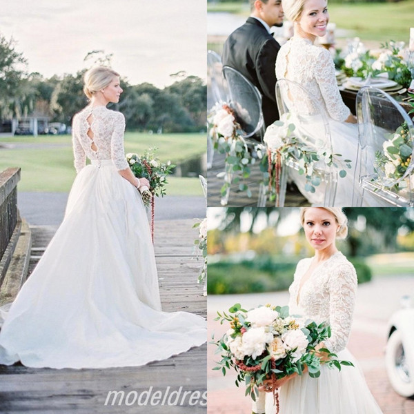 robe de mariée Country Wedding Dresses 2018 Illusion Bodice 3/4 Long Sleeve Lace Top Beads Sweep Train Hollow Back Garden Bridal Gowns