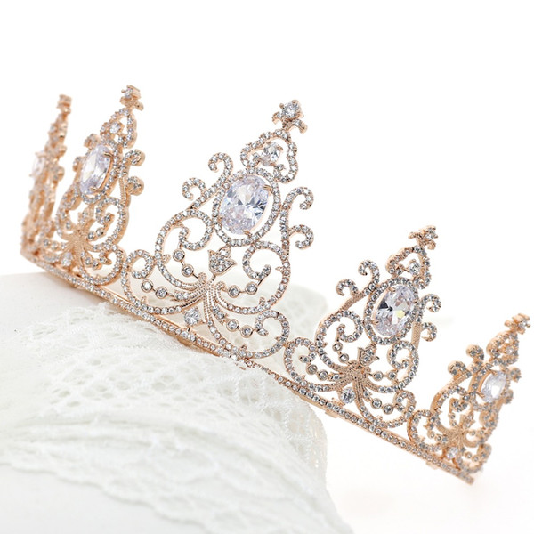 Luxury Rose Gold Crowns Tiaras for Brides Zircon Crystals Wedding Hair Accessories Girls' Princess Bridal Crowns