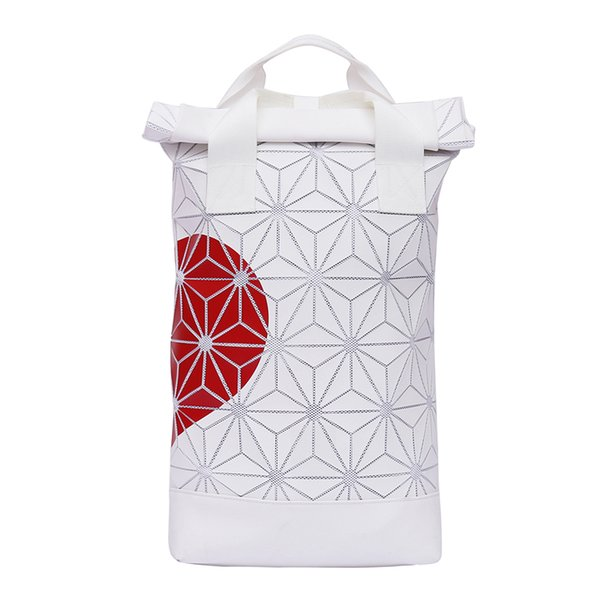 Popular 3D Roll Top white Ash Pearl Backpack red heart adjustable padded shoulder straps main zip compartment couple backpack