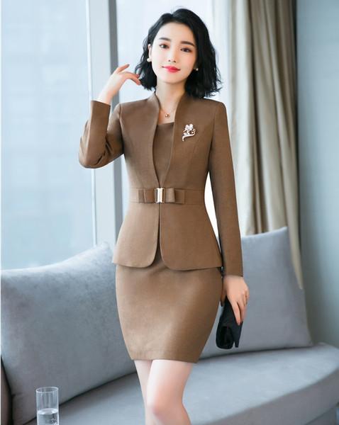 Tela de alta calidad trajes de vestir de las señoras formales para las mujeres trajes de negocios Blazer y conjuntos de chaqueta de oficina uniforme estilo marrón