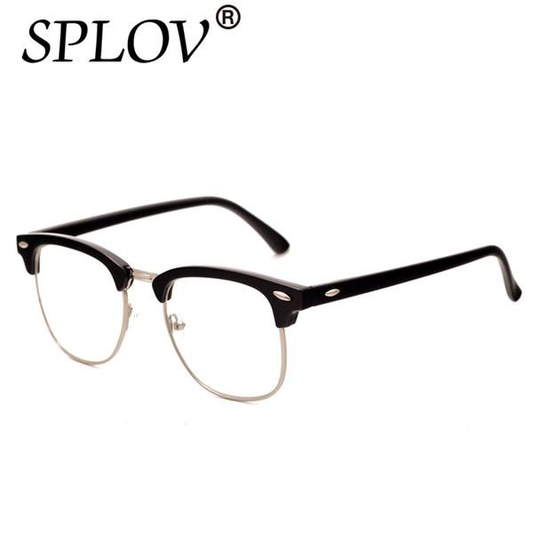 Alta calidad medio marcos de anteojos de metal hombres mujeres diseñador de la marca espejo de lectura gafas de vidrio óptico De Classic