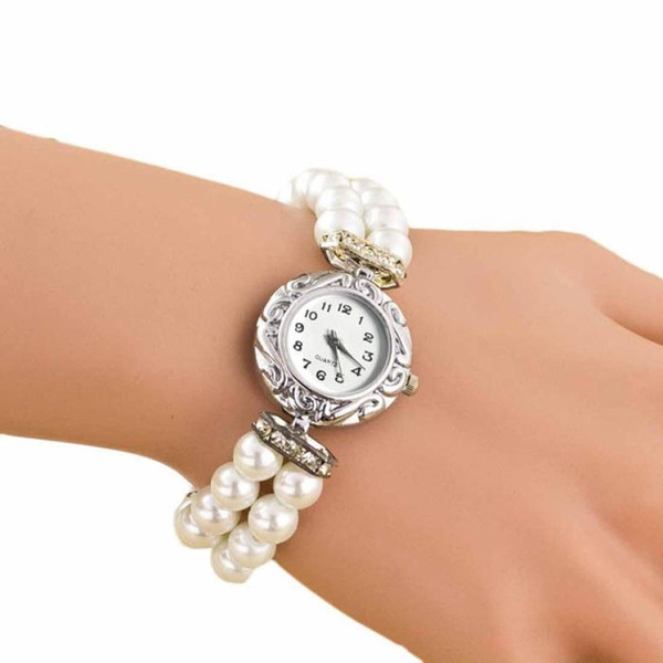 Women Students Beautiful Fashion Brand New Golden Pearl Quartz Bracelet Watch Leisure Clock  Women Leather M4