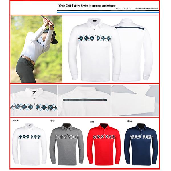 Roupas de golfe t-shirt de golfe de manga longa dos homens sportswear manga longa 4 cores s-xxl para escolher lazer camisa frete grátis