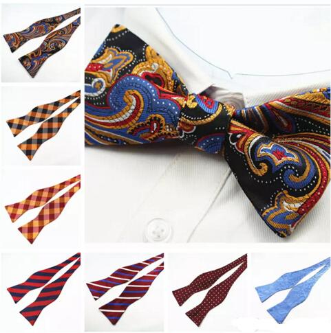 best selling Mens Self Bow ties Brand New 100% Silk Luxury Plain Tie Bowtie Butterflies Noeud Papillon Business Wedding Multi-Color