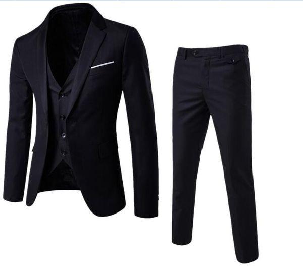 New Autumn Wedding Navy Blue Suits Men,Blazer Men,Men's Jacket + Pants + Vest Business Suits,men's Dress suits, Plus Size S-6X