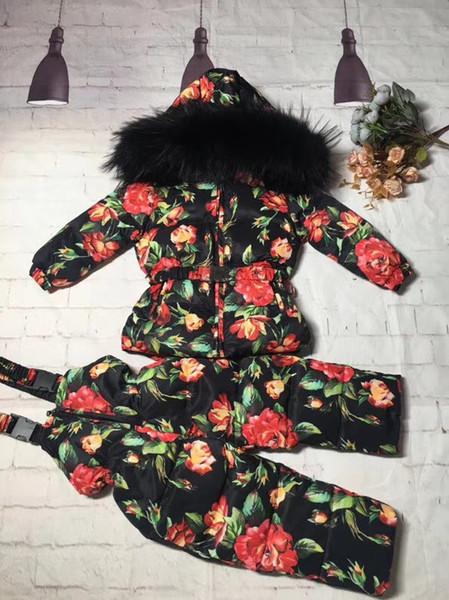 Vero giubbotto di pelliccia di procione 2018 giacca bambino giacca + pantalone twinset boy girl tute da sci bambini piumino giacca tuta sportiva
