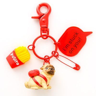 Cartoon Animal Puppy Piggy French Bulldog Pet Ice Cream Keychain Women Trinket DIY Metal Key Chains Car Bag Pendent Charm