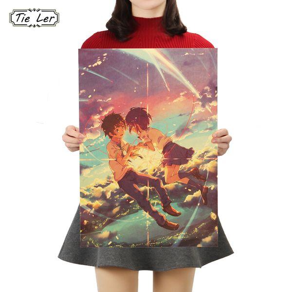 BINDEN SIE LER Ihren Namen Poster Cafe Bar Wohnkultur Malerei Anime Kraftpapier Wandaufkleber Tapete 50,5x35 cm