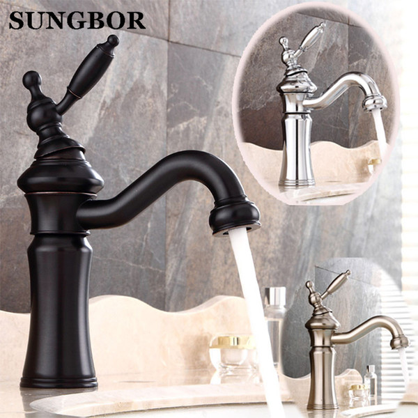 Vintage Style Bathroom Faucets.2018 Vintage Style Antique Faucet Black Tall Bathroom Faucets Brass Finish Washbasin Taps Hot And Cold Water Face Mixer Tap Al 7228h From Hariold