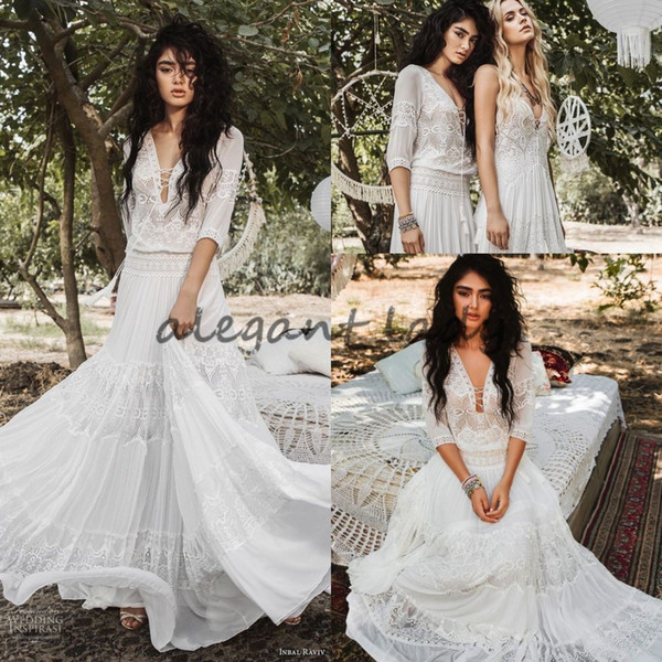 Flare que fluye Diosa griega Vestidos de novia Inbal Raviv Crochet Lace Holiday Summer Beach País Boho Vestido de boda nupcial con manga