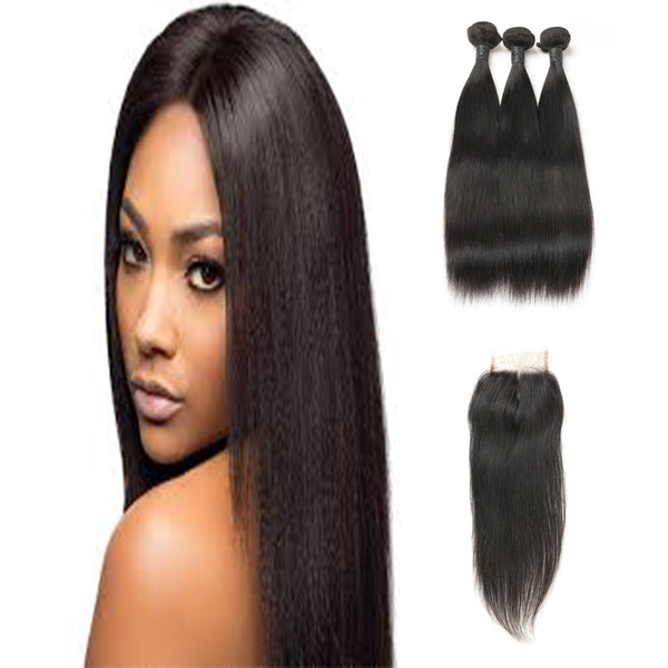Cheap Hair Bundle 100G With Middle Part Closure Peruvian Unprocessed Virgin 3 Bundles Straight Hair Extensions