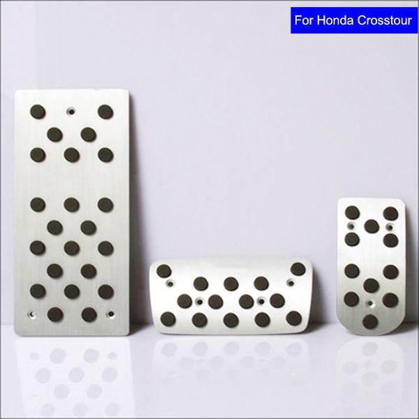 Non-Slip Car Aluminium alloy Fuel Petrol Clutch Fuel Brake Braking Pad Foot Pedal Rest Plate Set for Honda Crosstour Car Pedals