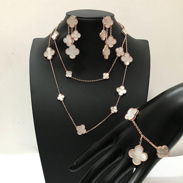 Arbeiten Sie Marke 925 silberne vierblättrige Blumenschmucksachen um, die für Frauen wedding Halskettenarmbandohrringe weiße Mutterperlenshellkleeschmucksachen eingestellt werden