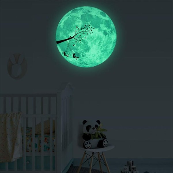 30cm 3D Glow star moon Wall Stickers for kids rooms Decal Baby Bedroom Home Decor Color Stars Luminous Fluorescent Dropship