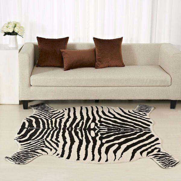 Enipate Zebra Vaca Cabra Estampado Alfombra Piel de vaca Cuero de imitación Piel antideslizante Antideslizante Estera Animal Print para el hogar 110X75CM / 50 * 90CM