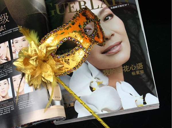 100pcs Hand Made Halloween Party Venetian Sequins Mask Half-face With Side Flower On A Stick Hand-held Masquerade Masks