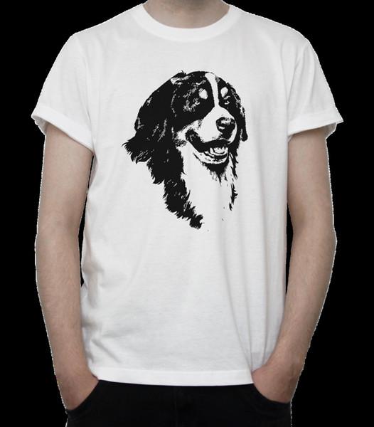 Бернская горная собака портрет футболка BW рисунок милый щенок животное серый белый