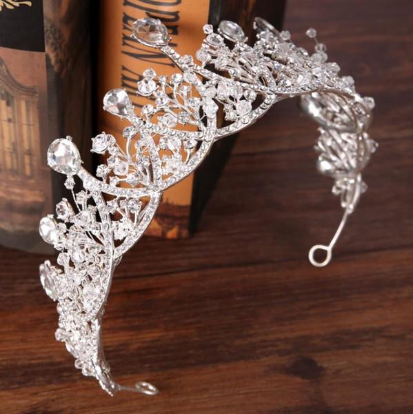Silver Diamond Princess Crown hoop crown ornament wedding headwear crown