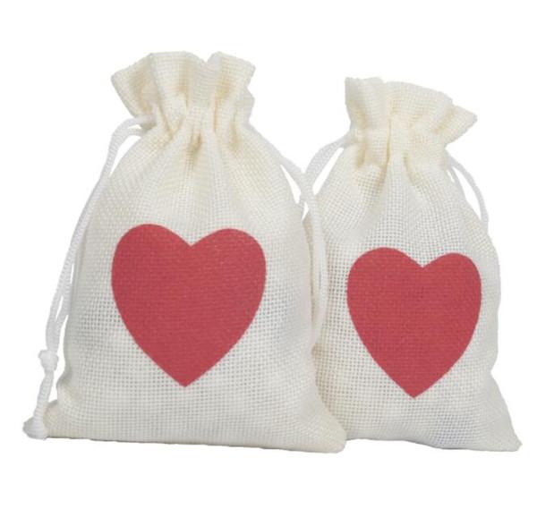 10 * 15 CM Weihnachtsgeschenk Tasche Mit Roten Herzen Hochzeit Kordelzug Candy Bag Party Dekoration Lieferungen Umwelt Schmuck Aufbewahrungstasche KKA5853