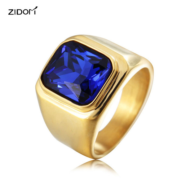 2018 New Gold color Men Hiphop Gem Rings High quality 316L Stainless Steel with CZ stone fashion simple Male ring jewelry
