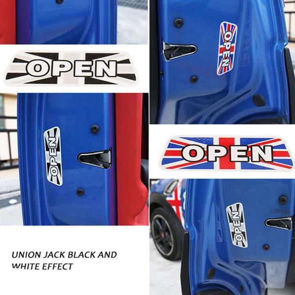 4pcs puerta a cuadros union jack reflectante pegatina estilo