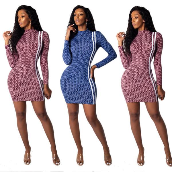 Les femmes à manches longues mini robe designer parti jupes col haut night club robes sexy imprimer col montant extensible robes de bande latérale