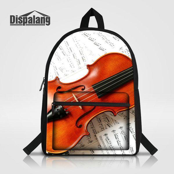 Violin Printing School Backpack For Teenage Girls Boys Women Men Outdoor Business Canvas Laptop Bag Rucksack Children Daily Daypack Bagpacks