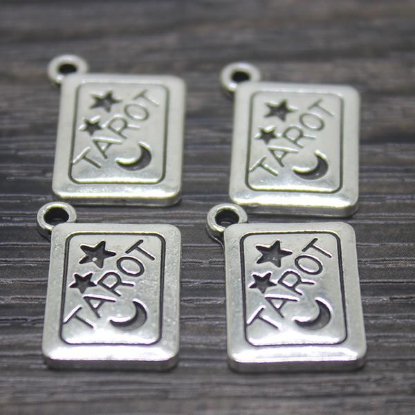 10pcs - 18x13mm plata antigua tarjeta de Tarot encantos colgante