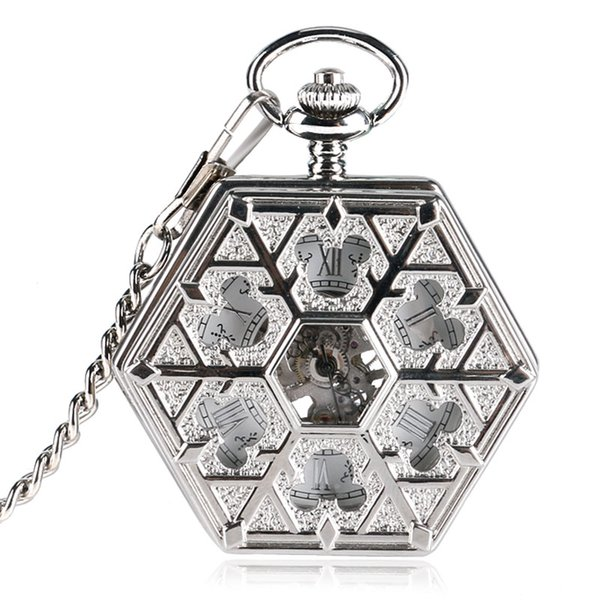 2018 New Hexagon Shape Silver Fob Watch Women Hollow Mouse Snowflake Hand Winding Mechanical Pocket Watch Chain XMAS Gifts MP071