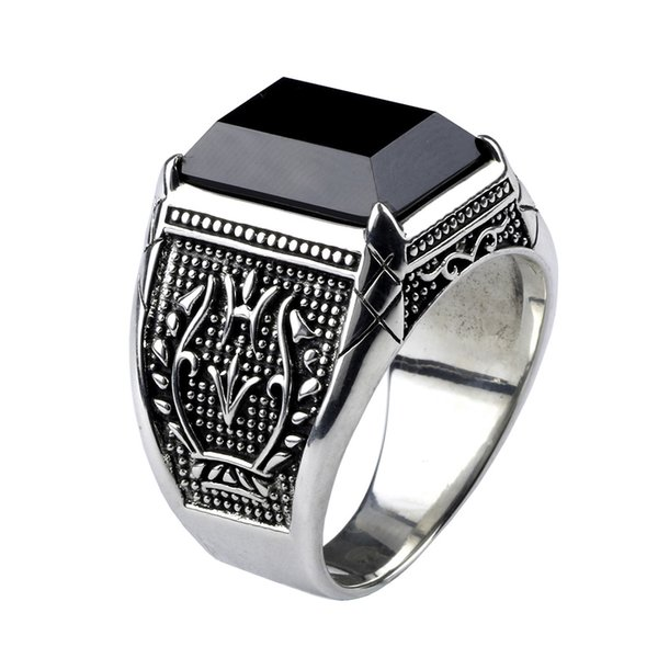 Vintage Ring Men Real Pure 925 Sterling Silver Jewelry Black Obsidian Natural Stone Ring para hombre Moda punk rock