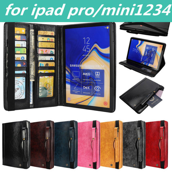 for ipad samsung T820 830 Protective sleeve ipad mini1/2/3/4 2017 pro PU leather Solid Color stick shockproof Dust Proof Card Slot Holder