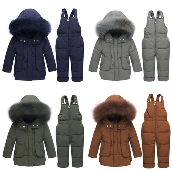 Çocuk Kış ceketler-30 derece Erkek Ceket Kızlar Kayak Takım Bebek Aşağı Ceket + Pantolon Tulum Kalın sıcak Çocuklar giysi Snowsuit