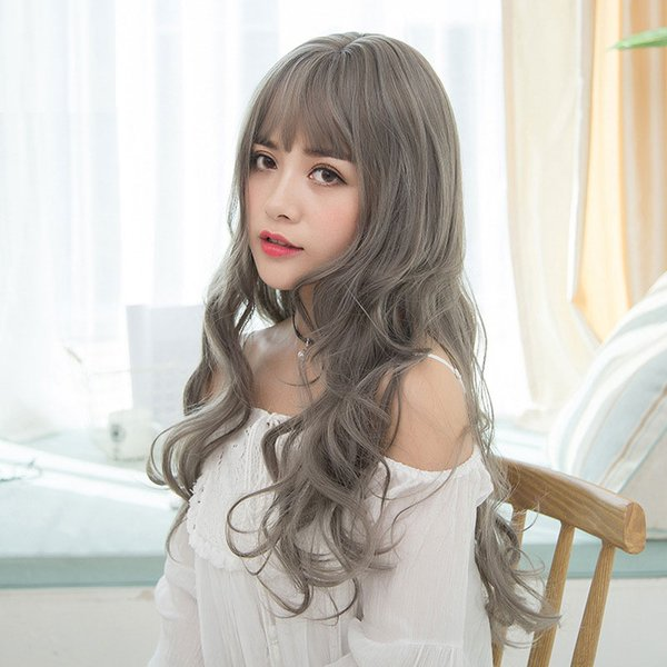 """Top Quality 27"""" Light Brown/Dark Brown/Grey/Black Long Curly Loose Wave Hair Wigs Heat Resistant Synthetic Wig"""