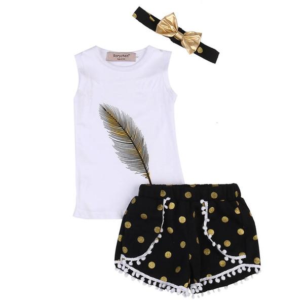 3PCS Fashion Sleeveless Kids Girls Feather Print Tops T-shirt+Dot Ball Tassel Shorts+Headband Summer Outfits Clothes Set