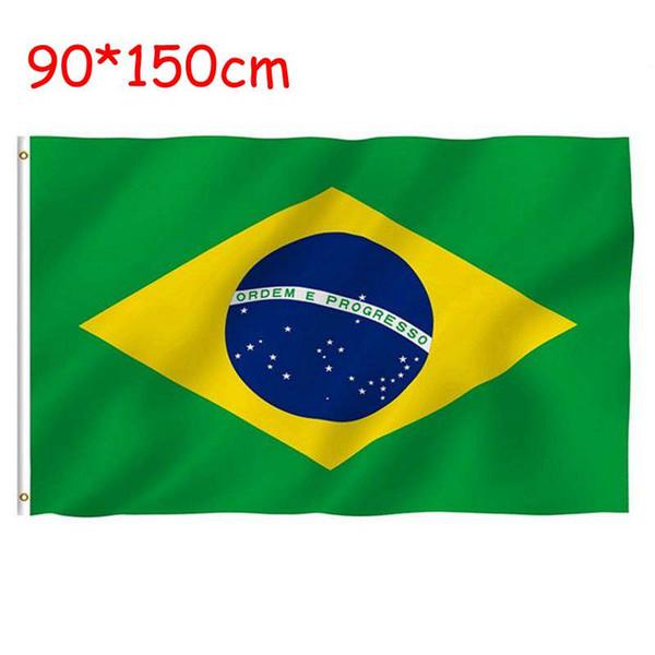 Vendita calda bandiera del Brasile 3 * 5ft bandiere nazionali e banner 90 * 150 cm bandiera poliestere impermeabile per la decorazione banner con 2 gommini