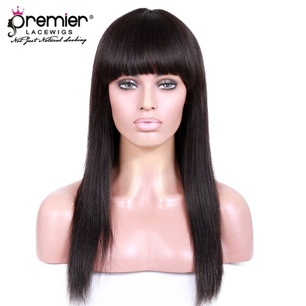 Premier 8A Glueless Lace Front Wigs 130% Density Brazilian Virgin Human Hair Yaki Straight With Bangs Lace Wig For American