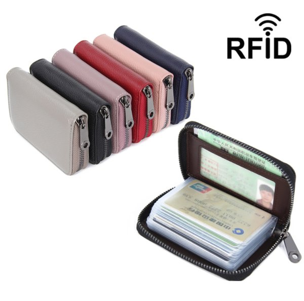 Head layer leather anti-magnetic rfid leather men and women universal card pack multifunction document pack zipper business card pack