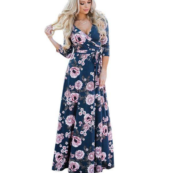 Summer Long Dress 2018 Floral Print Boho Beach Dress Sexy Elegant Bandage Bodycon Party Tunic Maxi Vestidos de festa