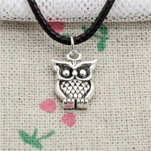New Fashion Tibetan Silver Pendant big eyes owl 16*12mm Necklace Choker Charm Black Leather Cord Handmade Jewelry