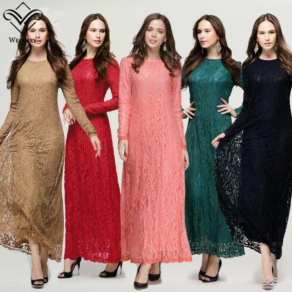 Nouvelle Mode Musulmane Minceur Charme Longue Jupe Full Lace Double Opaque Manches Longues Noir Sexy Femmes Noble Tempérament Musulman Dress