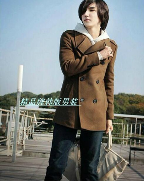 2018 green brown black Korean teenage fashion casual wool coat men trench jackets mens wool coats overcoats dress winter S - 3XL