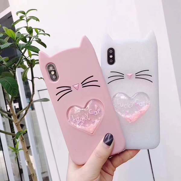 Premium Phone Case For Apple iPhone 6 6S 7 8 Plus X Soft Silicone Liquid Quicksand Heart Design Phone Back Cover iphone case