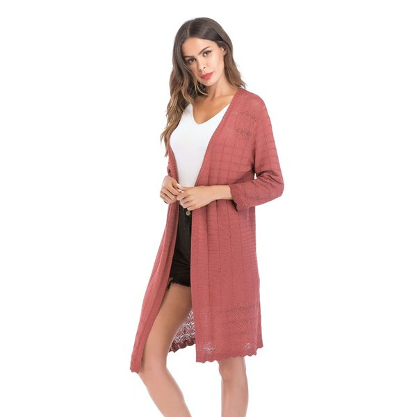 2019 Fall Sweaters For Women Knitted Sweater Long Womans Cardigans Thin  Oversized Clothes Womens Simple Casual Coat Solid Color 5813 From Mangcao,
