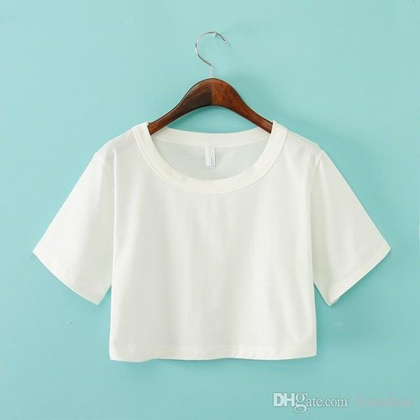 Wholesale-5A01 Fashion Ladies summer School Style Cotton short T shirt O-neck short sleeve shirts casual brand Crop Tops