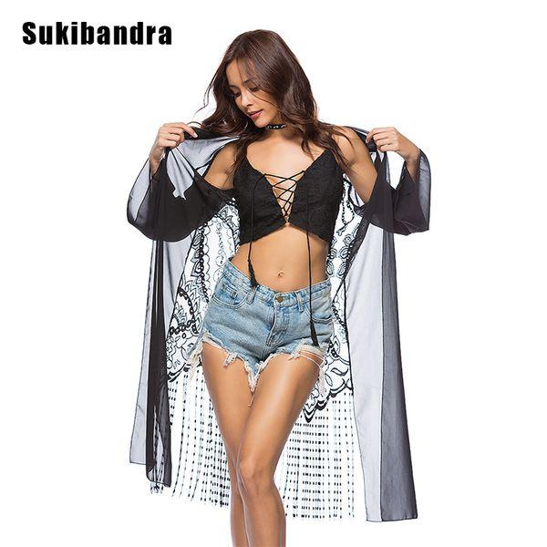 Sukibandra Summer Beach Cover Up Kimono Noir Sheer Longue En Mousseline De Soie Blouse Pour Femmes Tassel Bohemian Boho Blouse À Manches Longues