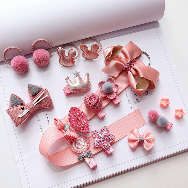 Kids Set Cute Hairpins Headwear For Girls Hair Accessories Baby Hair Clips Baby Girl Party Head Wear Gift Box Photography Props