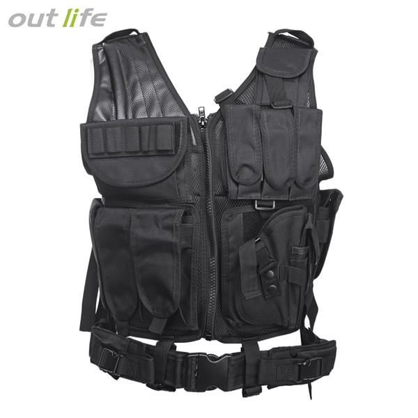 Outlife Tactical Paintball Swat Assault Hunting Molle Vest with Holster Hunting Molle Vest With Holster Outdoor Camouflag