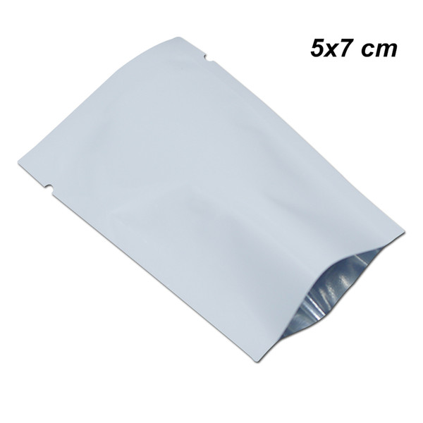 5x7cm White Aluminum Foil Sample Open Top Heat Sealable Vacuum Food Grade Packing Bags for Snack Tea Dried Nuts Mylar Foil Heat Seal Pouches